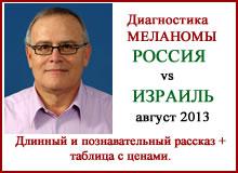 Диагностика меланомы. Россия vs Израиль. Август 2013.