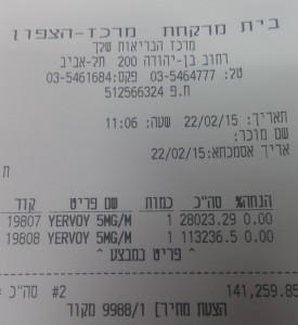 Ервой. Цена в Израиле