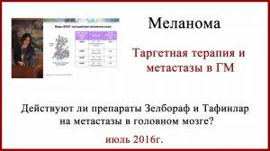 Лечение меланомы. Зелбораф,Тафинлар и метастазы в головной мозг