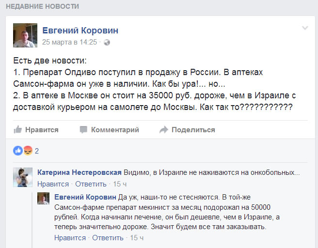 Опдиво. Цена в России