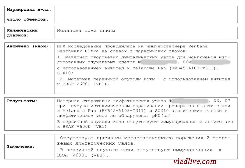 Результат биопсии сторожевых лимфоузлов