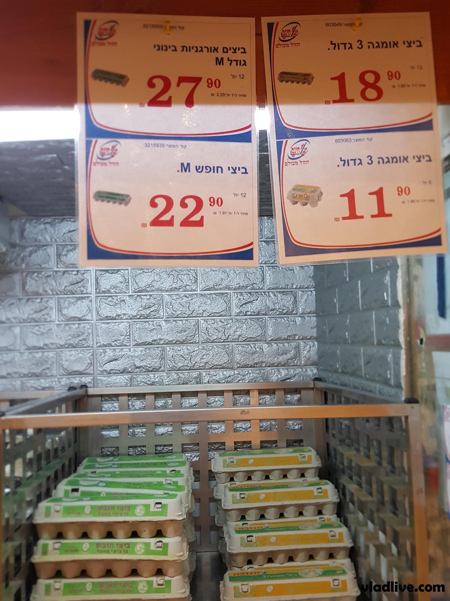 Яйца в магазинах Израиля