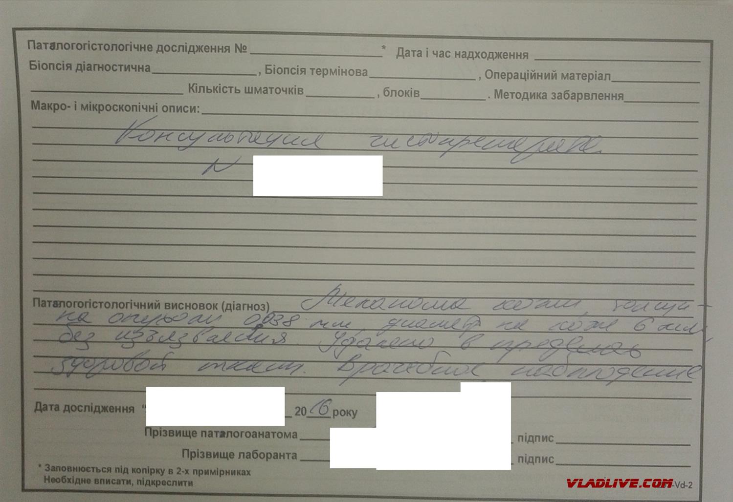 Меланома. Украина. Пересмотр гистологии