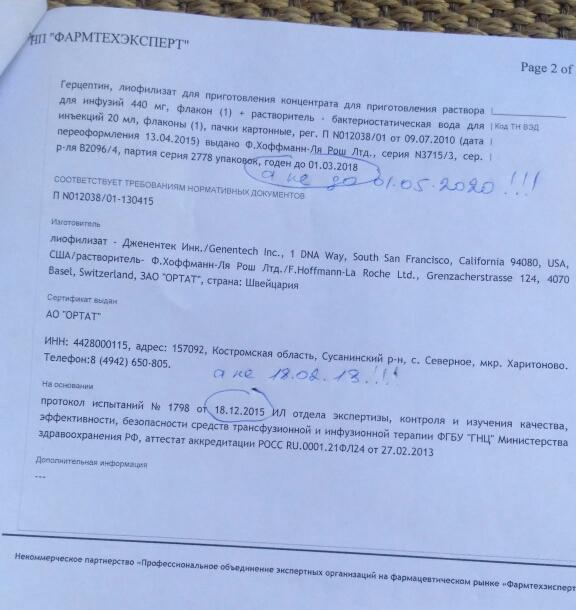 Герцептин. Сертификат-подделка