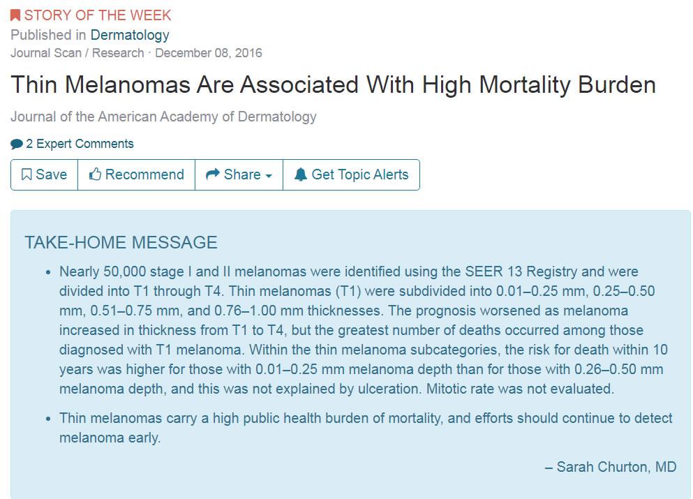 Тонкие меланомы и риск смерти